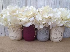 nice Pint Mason Jars,Plum Grey Cream,Painted Mason Jars,Rustic Wedding…