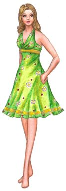Sylvia is an adult female paper doll. She has light peach skin and wavy dark blonde hair. She is wearing a sleeveless green halter dress patterned with white flowers and red dots and trimmed with yellow ribbon.