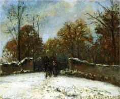 Entering the Forest of Marly (Snow Effect) - Camille Pissarro