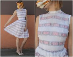 Vintage 50's White and Pink Striped Nubby Swiss Dot Sleeveless Cotton Day Dress with Lace Neckline by L'Aiglon | XS by AnimalHeadVintage on Etsy