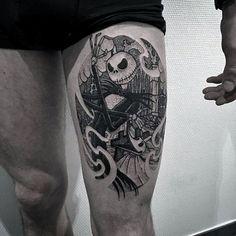 Christmas tattoo, inked men, tattoos for guys, jack skellington, tattoo des Leg Tattoo Men, Sleeve Tattoos For Women, Leg Tattoos, Body Art Tattoos, Tattoos For Guys, Tattoo Drawings, Jack Tattoo, Unique Tattoos, Cool Tattoos