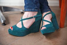 Crossover Wedges ------> Ermahgerd! Gorge! I would never ever get them because I would obvi break my neck within minutes, but they are fabulous.