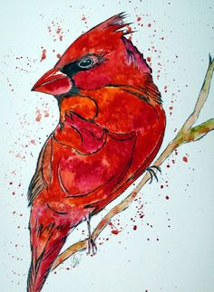 Aquarell - Kardinalvogel -Aquarell - ein Designerstück von mizzonybaby bei DaWanda