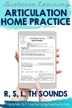 Do you need a home articulation program for students targeting R, S, L, or TH sounds? The bundled product includes 12 weeks of practice for each target sound. Each week provides speech sound practice for 5 minutes daily with activities in discrimination/isolation/syllables, words, sentences, and carryover. Speech sound tips are included and a rating scale to make practice at home easy and effective. #speechtherapy #speechtherapyactivities #distancelearning