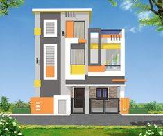Modern house front contemporary house two stories fresh by architects two stories house front elevation idea House Outer Design, House Outside Design, House Front Design, Modern House Design, 3 Storey House Design, Bungalow House Design, Building Elevation, House Elevation, House Design Pictures