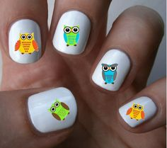 Cute Owl Nail Art Decals Nail Stickers by ILoveNailDecals on Etsy, $4.50