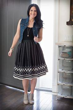 Image of Chevron Printed High-Waisted Skirt
