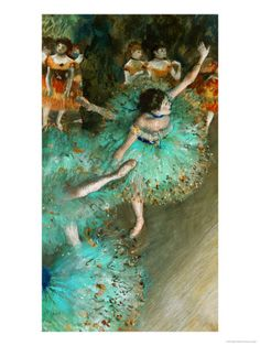 Paint a picture.  Green Dancer, circa 1880 by Edgar Degas. Giclee print from Art.com.  One of my absolute favorites!