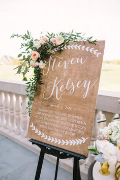 A wedding welcome sign with a custom quote or song lyric. Love this one! By Paper and Pine Co.