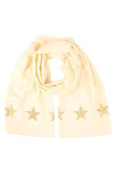 NEW: Cashmere Pashmina STARS (off white/gold)