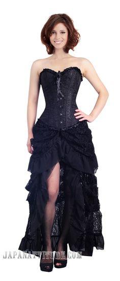 Robe corset noire jupe en dentelle buslesque élégant gothique