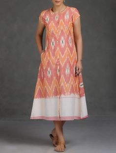 Buy Rust Cream Mustard Button Down Ikat Cotton Dress Women Dresses Affair Tops Tunics and More Online at Jaypore.com