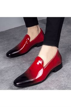 Red Gradient Patent Loafer is part of Mens red shoes - Leather Loafer Shoes, Black Leather Shoes, Patent Loafers, Loafers Men, Leather Men, Suede Shoes, Patent Leather, Soft Leather, Mens Dress Loafers