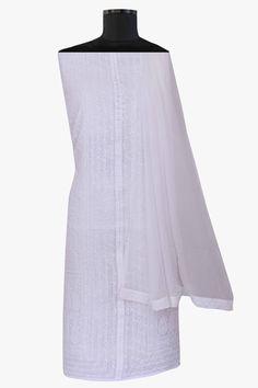 Ada #handembroidered #white  #cotton #lucknowi #chikankari  Unstitched Suit Piece – A270406