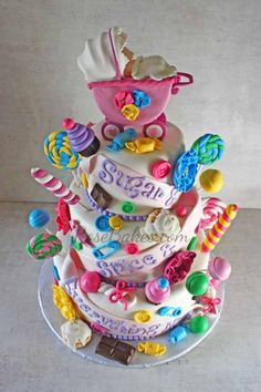 Candyland Baby Shower Cake -- the most decorated cake!