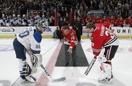 Hawks legend Tony Esposito does the ceremonial first puck drop during the @Leslie Mallman Blackhawks & @Stéphane Rasselet. Louis Blues game on April 1, 2009. cool because he was a goalie so the goalies got to take it