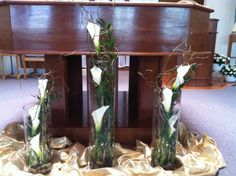 White calla lilies, in cylinder vases, for an altar arrangement. Cylinder Vase, Vases, Calla Lilies, Altar, Florals, Lily, Mirror, Table, Furniture