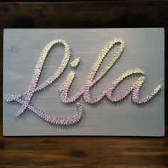 Custom Made Nail and String Art Name Plaques by IHeartStrings on Etsy