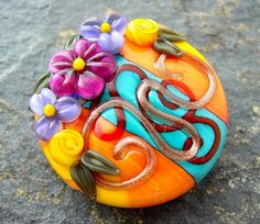 Summer Flower Basket  Large Spree Focal Bead  SRA by artwithheart, $25.00