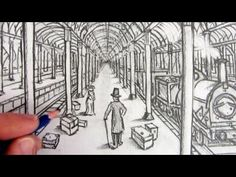 One-Point Perspective art video drawing tutorial of a Vitorian Railway Station in pencil