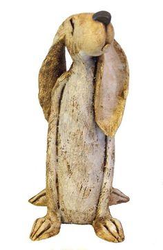 Stoneware clay animal sculptures by ceramic artist JJ Vincent. Exclusive pet portrait figurines, Hares, dogs and other animals with attitude are a speciality. Pottery Animals, Ceramic Animals, Clay Animals, Ceramic Clay, Ceramic Pottery, Pottery Art, Rabbit Sculpture, Paper Mache Sculpture, Beatrix Potter