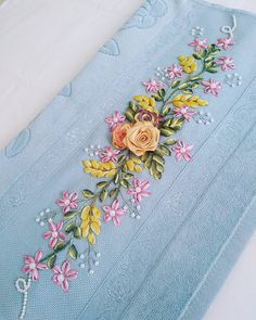 Wonderful Ribbon Embroidery Flowers by Hand Ideas. Enchanting Ribbon Embroidery Flowers by Hand Ideas. Ribbon Embroidery Tutorial, Hand Embroidery Dress, Silk Ribbon Embroidery, Hand Embroidery Patterns, Embroidery Kits, Floral Embroidery, Cross Stitch Embroidery, Cross Stitch Floss, Brazilian Embroidery