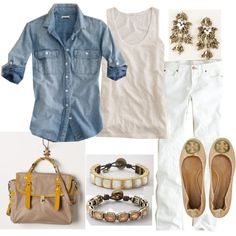 white jeans, light jean top, taupe and yellow purse with gold accessories.