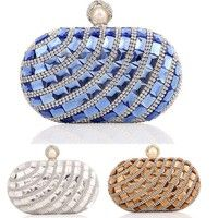 Wish   Women Evening Bag Elegant Bling Bling Crystal Peal Clutch Party Bag Handbag with Chain