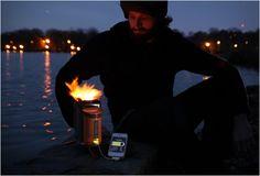 Ha! Ha! :)  charger son I-phone avec du feu!  (via alex cornelier)