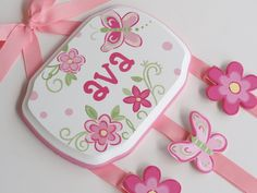 LOVE IT-Hand Painted and Personalized Hair Bow Holder by threedoodlebugs. $32.99 USD, via Etsy.