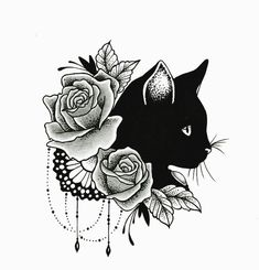 _Arts @ Ideas for.Drawing - Tattoo - Katzen - drawing ideas katzen tattoo - new - @ Drawing._Arts @ Ideas for. Kunst Tattoos, Tattoo Drawings, Body Art Tattoos, Hp Tattoo, Male Tattoo, Tattoo Small, Tattoo Flash, Black Cat Tattoos, Cat Tattoo Designs