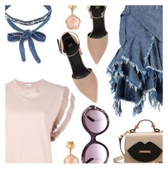 """""""Nude & Denim"""" by stacey-lynne on Polyvore featuring Chan Luu, Marques'Almeida, RED Valentino, Valentino and Pasquale Bruni"""