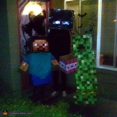 Rhonda: I have 3 costumes. From minecraft. My kids love the game. They wanted me to make them this year so used cardboard glue tape and paper the only thing i. Minecraft Halloween Costume, Minecraft Costumes, Halloween Costume Contest, Minecraft 2014, Steve Costume, Glue Tape, Costume Works, Family Costumes, Arcade Games