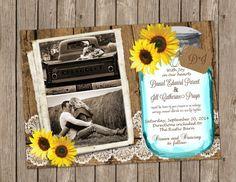 Sunflower Wedding Photo Invitation over Barn Wood and Lace with Mason Jar - printable 5x7