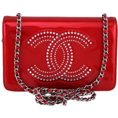 Pre-Owned Chanel Cherry Red Patent Strass Crystals WOC Wallet on Chain... ($2,299) ❤ liked on Polyvore featuring bags, handbags, red, red patent leather handbag, patent leather handbags, crossbody handbags, handbag purse and man bag