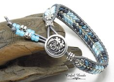 Blue And Gray Leather Wrap Bracelet, Beaded Leather Wrap With Superduos, Boho Leather Cuff For Women (SW133) by CinfulBeadCreations on Etsy