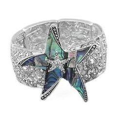 Silvertone Rhinestone and Abalone Starfish Stretch Bangle Bracelet