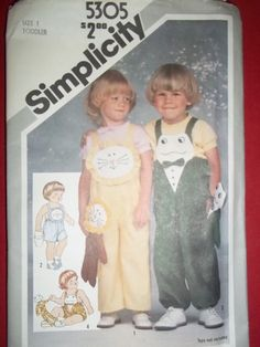 """Girl Boy LION Frog jumpsuit OVERALLS stuffed toys size 1 toddler chest 20"""" Simplicity 5305  retro 1981 sewing pattern"""
