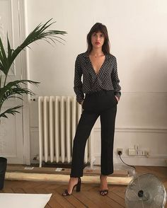 Jeanne Damas in Juliette pant back in stock / new Pascale blouse in stock next week #lesfillesenrouje