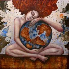 °Gaia ~ Earth by Ingrid Tusell Domingo Sacred Feminine, Divine Feminine, Earth Goddess, Illustrations, Beautiful World, Namaste, Mother Nature, Mother Art, Reiki