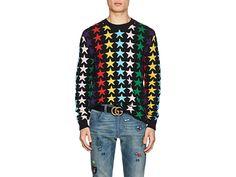 Gucci Star-intarsia Chunky-knit Wool Jumper In Black Wool Sweaters, Black Sweaters, Rainbow Star, Alessandro Michele, Gucci Men, Black Wool, Jumper, Men Casual, Stars