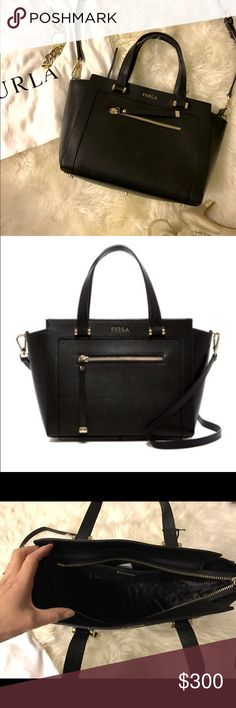 NWT✨FURLA Satchel✨ Authentic FURLA Black Ginerva medium black leather satchel. Made in Italy. Comes with dust bag. Never used with tag. Enough room to put Long type wallet. Furla Bags Satchels