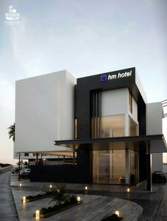 hotel fachada HM Hotel on Behance Modern Architecture Design, Commercial Architecture, Facade Design, Facade Architecture, Exterior Design, Building Elevation, Building Facade, Building Design, Living Style