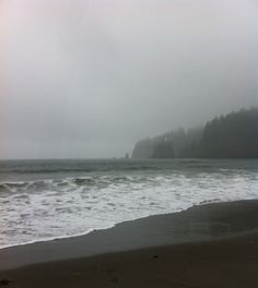 Third Beach, La Push: high tide and raining. Fathers' Day with my parents in Olympic National Park.