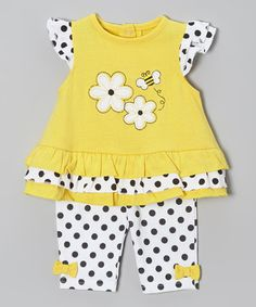 Love this Yellow & Black Polka Dot Bee Tunic & Pants - Infant by Weeplay Kids on #zulily! #zulilyfinds