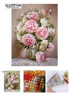 [Visit to Buy] 5D Round Drill Peony Modern Home Decoration Diy Diamond Painting Peony Floral Needlework Full Diamond Embroidery Painting CJ37 #Advertisement