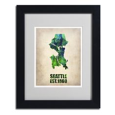 Naxart 'Seattle Watercolor Map' Framed Matted Art