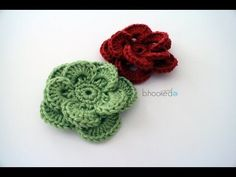 "Quick and easy crochet flower free pattern. Watch the ""How To Crochet A Flower: Wagon Wheel Flower"" video tutorial here. Crochet Puff Flower, Crochet Flower Tutorial, Crochet Flower Patterns, Crochet Motif, Crochet Flowers, Knitting Patterns, Crochet Bouquet, Spiral Crochet, Crochet Ripple"
