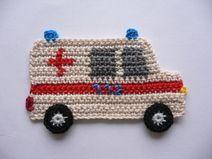 Kranken-Wagen – crochet application - Home Page Motifs D'appliques, Crochet Motifs, Crochet Square Patterns, Form Crochet, Baby Knitting Patterns, Crochet Appliques, Crochet Amigurumi, Knit Or Crochet, Crochet For Kids