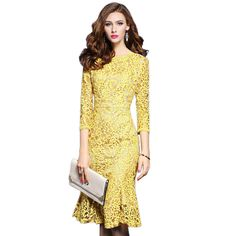 ==> [Free Shipping] Buy Best 2017 High Quality Spring Womens Dresses 3/4 Sleeve Yellow Lace Dress Elegant Office Business Party Bodycon Women's Dress Online with LOWEST Price | 32782822587
